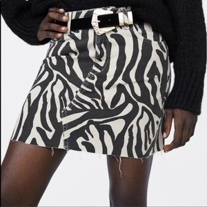 New Zara Zebra Print Stretchy Denim Mini Skirt L